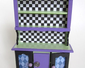 Dollhouse Cabinet 1:12th Scale Mckenzie Childs Style Cupboard