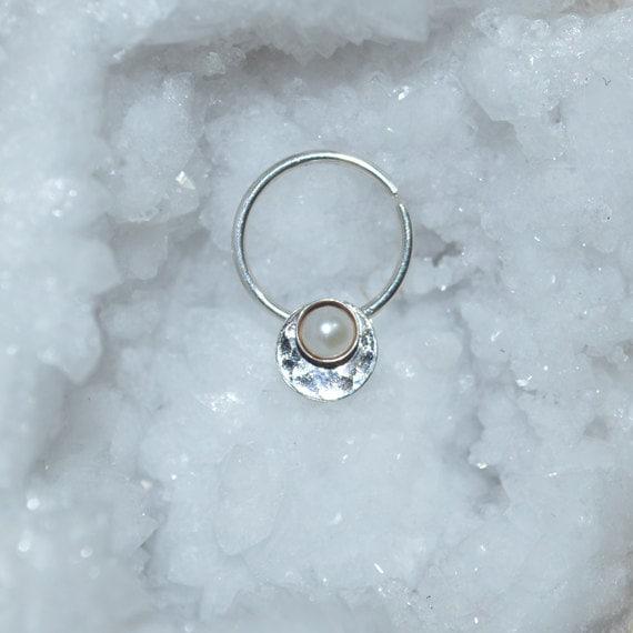 Fresh Water Pearl Septum Ring - Silver Nose Ring - Helix Earring - Rook Earring - Nipple Ring - Cartilage Piercing - Daith Piercing 16 gauge