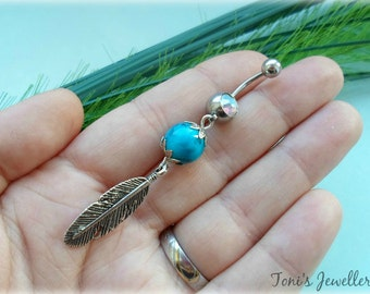 Feather Belly Button Ring - Stainless Steel, Rhinestone
