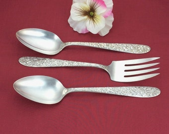 NARCISSUS Silver Plate Spoons Fork, 3 pc Serving, 1935 Vintage National Daffodil Flatware, Wedding, Shower, 5th Anniversary Silverware Gift