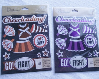 K & Company Sticker Set,CHEERLEADING Sticker Set,Cheerleader,Orange Cheerleader,Sports Sticker,12pc Sticker Set,3D Cheerleader Set