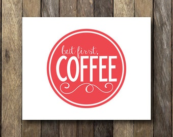 Coffee Printable - Red Kitchen Art - Instant Download - Kitchen Printables - Red Kitchen Decor - Coffee Art Print - Coffee Printables