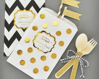 Wedding Goody Bags - Wedding Goodie Bags - Wedding Favor Candy Bags for Candy Buffet PERSONALIZED Wedding Favor Bag -  (EB2358FW) set of 24