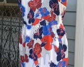 SALE-1970's Hawaiian Print Summer Dress Double Knit Colorful Dress Size M