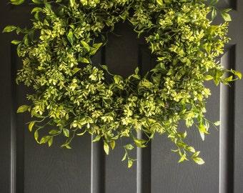 WREATHS   Faux Boxwood Wreath   Winter Wreaths   Front Door Wreaths   Summer Wreaths   Office Decor   Wall Decor   Housewarming Gift