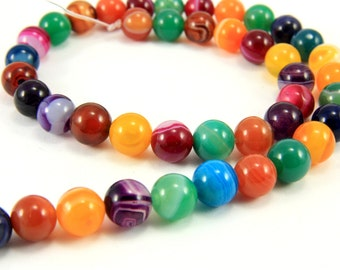 8mm Agate Beads, 1 Strand (47 pcs) Mix Colour Round Agate Beads, Natural Agate Beads, Agate Loose Gemstone Beads, 8mm Round Gemstone
