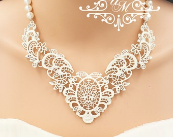 Wedding Jewelry Single strand Swarovski Pearl Necklace Bridal Necklace Bridal Jewelry Bridesmaids Necklace Lace Necklace - DANI