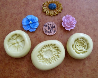 pansy silicone mold, rose silicone mold, sunflower flexible silicone mold, resin mold, food mold, pmc mold, jewelry mold, fondant mold