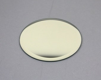 Mirror 4 inch round (10 cm) 3mm thick, with beveled edge, for coasters or display