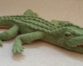 Needle felted crocodile