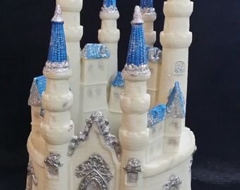 Princess Castle, Castle Cake Topper, Birthday Cake Topper, Castle For Cake, Princess Birthday, Pink Castle Decoration, Blue Silver Castle