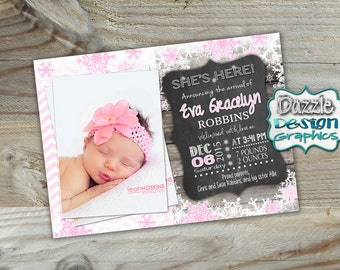 Winter Wonderland birth announcement, She's Here girl baby birth announcement, #401 Digital File or Prints