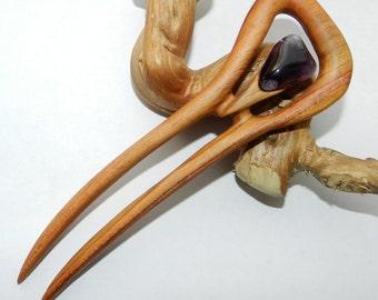 Wooden hair fork, Hand carved hair fork, wooden hair fork with amethyst, hair fork