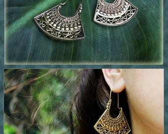 Aztec Brass Hoops, Tribal Earrings