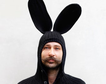 BUNNY HOODIE for Men and Women - Bendable Bunny Ears - Blamo Toys Hoody - Black Rabbit Cardigan - Adult Christmas Sweater - Holiday Gift