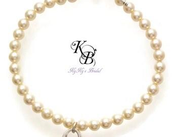 Bridal Bracelet, Wedding Jewelry, Heart Bracelet, Heart Charm Bracelet, Bridal Jewelry, Pearl Bridal Jewelry, Pearl Wedding Bracelet