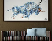 """Animal Bull Painting 72"""" Abstract Painting on canvas, Original & HandMade Oil painting , Modern Art , Express Shipping, q By Koby Feldmos"""