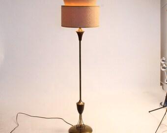 1950 MINIMALIST FLOOR LAMP brass and steel stem vintage mid century era