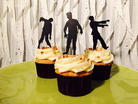 Halloween Cupcake Toppers, The Walking Zombies Cupcake Toppers,  Zombie Party Cupcake Toppers, Zombie Apocalypse Party