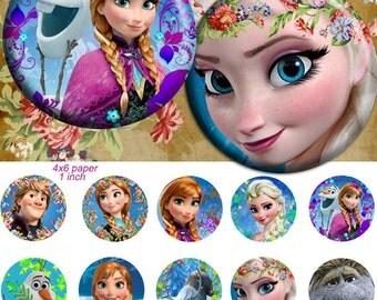 Frozen movie 25mm -  4x6 Bottle Cap Images Digital Collage INSTANT DOWNLOAD