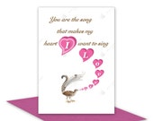 I Love You romantic card for boyfriend girlfriend wife husband Love or Valentine card lyrebird singing pink hearts inside message options