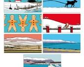"""Lot de 10 étiquettes cadeau """"Snow Mix // Islande"""" + Ficelle // 50 x 50 mm"""