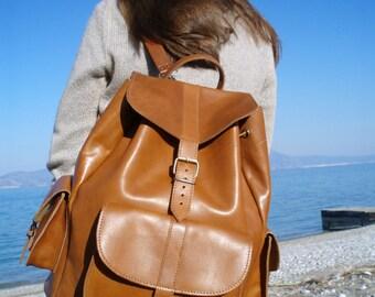 Leather Backpack - Full Grain leather Backpack - Shoulder backpack bag - XL size - Caramel Color -