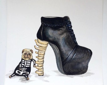Skeleton Pug dog illustration original acrylic painting. Jeffrey Campbell inspired designer heels. 1/1. A4 size.