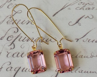 Rose Crystal Earrings, Crystal Rhinestone Earrings, Rose Rhinestone Earrings, Pink Earrings, Dangle and Drop Earrings, Bridesmaids Gifts
