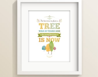 Tree art print, typographic print, inspirational print, nature print, tree illustration, wall art, tree print, home decor, Irene Gough