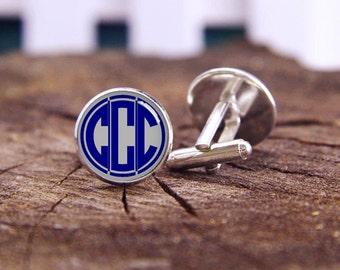 Monogram Cuff Links, Custom Monogram Initials, Custom Fonts Or Background, Initial Gifts, Custom Wedding Cufflinks, Groom Cufflink, Tie Clip