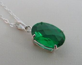 SALE Emerald Necklace, Sterling Silver, 10x14mm Emerald Pendant, Emerald Gemstone, May Birthstone Jewelry, Green Gemstone Necklace