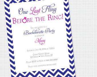 Bachelorette Party | Chevron Fling Before the Ring {Digital File} Printable