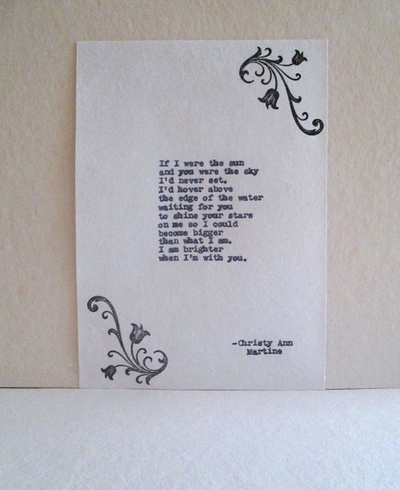 Old Fashioned Gifts - Love Poem - Gifts for Girlfriend or Wife - Hand Typed by Author - With or Without Flower Design