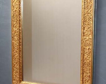 Mirror: wall modern mirror gold with gold leaves, oriental mirror