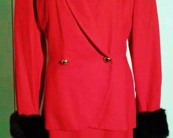 Ferre' Studio 0001 dress / dress 1980s /classic dress with straps/fur cuffs/ red dress / Ferrè 1980s