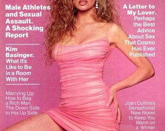 Magazine  Cosmopolitan Magazine  1991  Kim Basinger Cover & Story Inside w/1 image  Joan Collins  Sexual Assault  Marry Rich  Sex Advice
