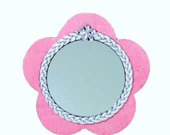 Flower Mirror Magnet Pink and Silver Rhinestone Decorative Magnet Hand-Painted Glitter Wood Flower Magnetic Mirror Locker Mirror Room Decor