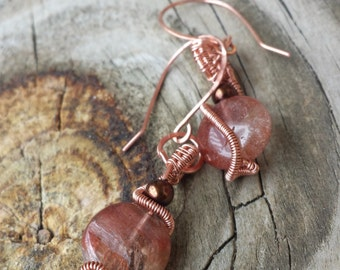 Red Rutilated Quartz and Copper Earrings