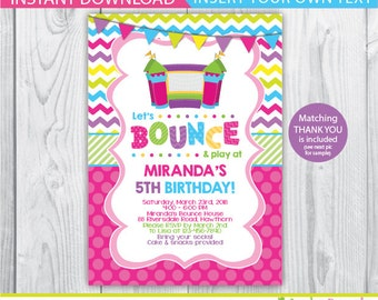 bounce house birthday / Bounce House invitation / bounce house birthday invitation / bounce house invites / bounce house thank you / INSTANT