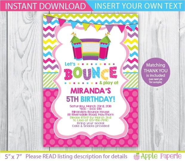 Bounce House Birthday / Bounce House Invitation / Bounce House