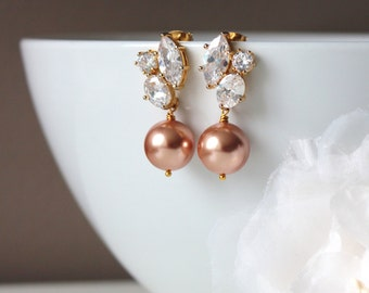 Rose Gold Pearl Bridal Earrings Pearl Wedding Jewelry Mother of the groom gift Swarovski Pearl Earrings Mother of the Bride Gift Earrings