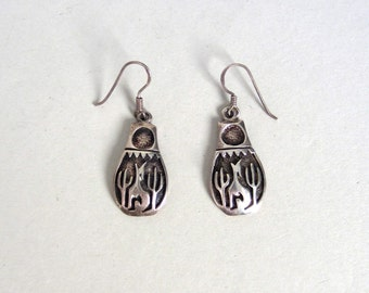Vintage Silver Coyote and Cacti Overlay Earrings