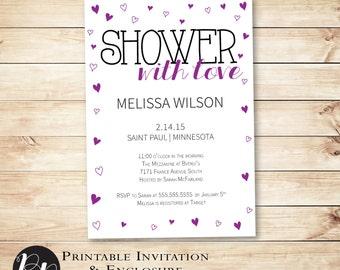 Heart Printable Baby Shower Invitation, Shower with Love Valentine // Sweetheart, February, purple, printable // Hewitt Avenue
