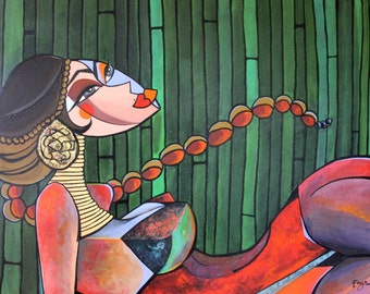 Lady Bamboo - Original Cubist acrylic painting on canvas. 60x76cm -  24x30 inches