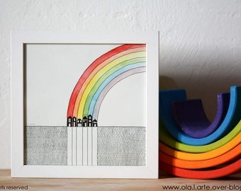 Rainbow illustration 20x20cm