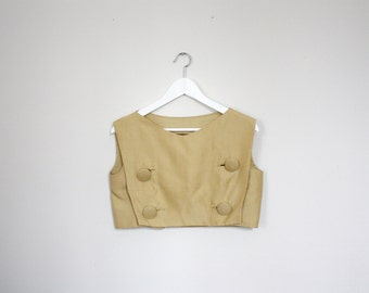 vintage sixties mod raw silk buttoned crop top