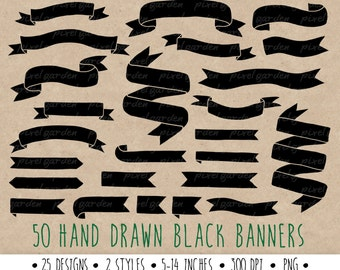 Hand Drawn Banners Clip Art. Doodle Ribbon Banners. Black Banners Clip Art. Black Digital Banners.