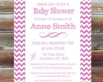 Custom Chevron Baby Girl Shower Invitation - Girl Baby Shower Invite - Pink Chevron Baby Invitation -Pink Baby Shower Invitation - Baby Girl