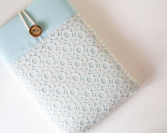 CLEARANCE - Lace iPad or Kindle Tablet Cover Sleeve with Padding, Pockets, and Button Closure